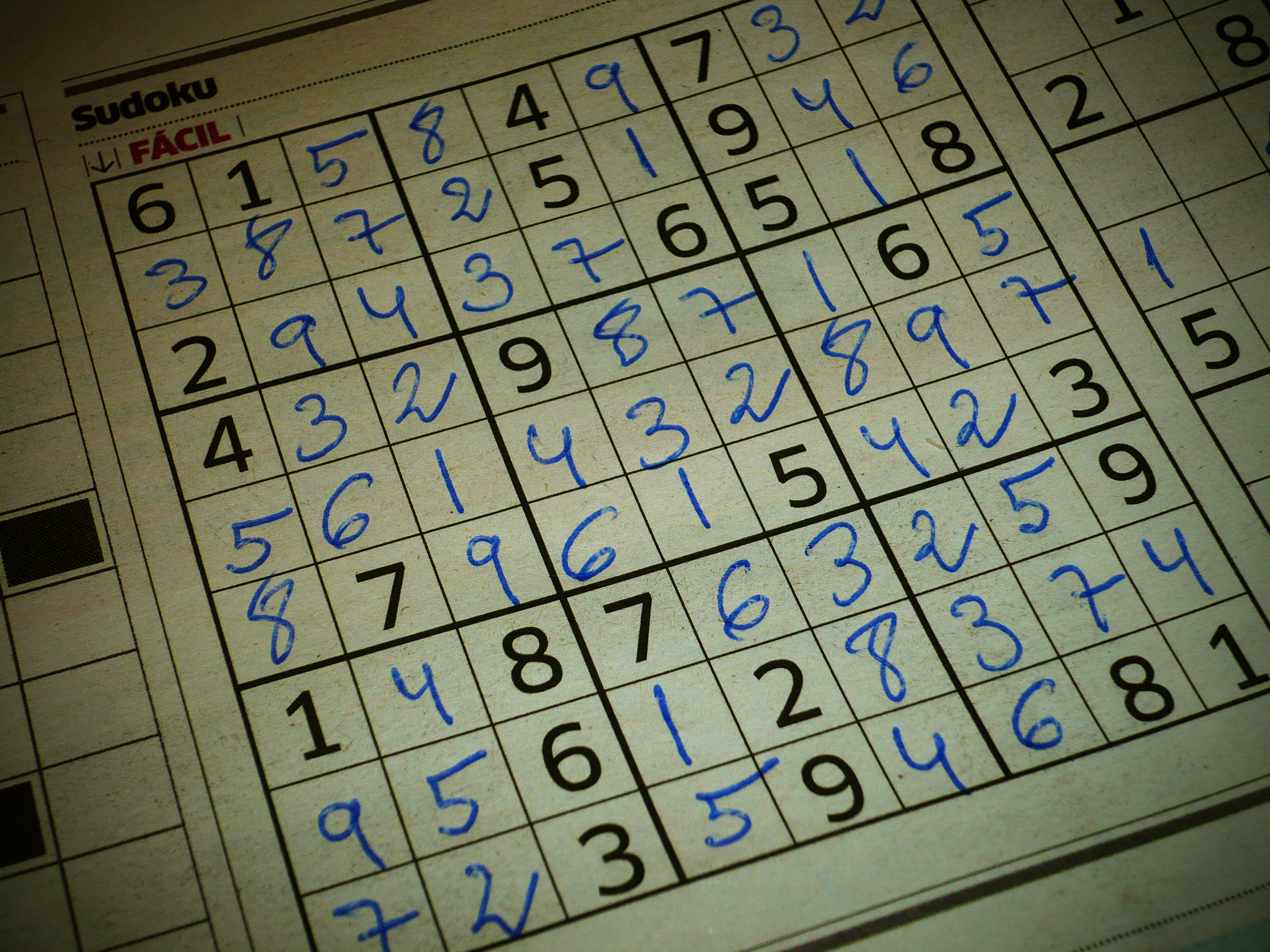 Answered Sudoku Sheet Using Blue Ballpen for 247 Sudoku Relaxation Game